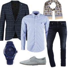 Outfit+perfetto+per+il+tempo+libero+e+l'ufficio.+Jeans+skinny+fit+alla+caviglia,+camicia+slim+fit+con+colletto+con+bottoni,+giacca+elegante+slim+navy+con+fantasia+a+scacchi.+Splendide+stringate+sportive+cement,+sciarpa+in+seta+e+cotone+in+fantasia+multicolore+e+orologio+blu+con+dettagli+in+raso+e+cinturino+in+pelle+completano+il+look.