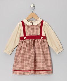 Red & Beige Gingham Dress