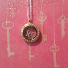 Breast Cancer Awareness Origami Owl locket. Order direct from erinslocketcreations.origamiowl.com