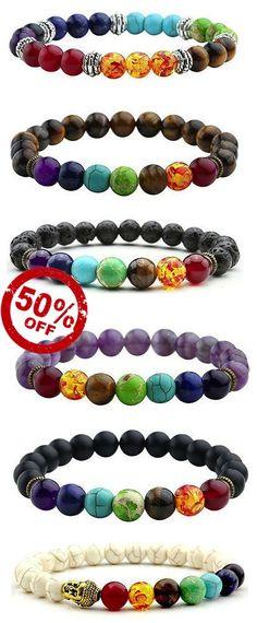 Colorful Stone Beaded Bracelets [ 9 Variations ] Tiger eye, hamsa hand bracelet, buddha bracelet and more...
