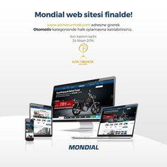 """Mondial'in web sitesi Türkiye'nin ilk ve tek web ödülleri olan Altın Örümcek Web Ödülleri için """"Otomotiv"""" kategorisinde tek motosiklet firması olarak finale kaldı. Mondial web sitesine 3 adımda oy verebilirsiniz. İlk adım olarak http://altinorumcek.com/Halk-Oylamasi/ sitesini ziyaret ediniz.  İkinci adım; Facebook, Twitter veya Google+ hesabınızla giriş yaparak oylama için hesabınızı etkin hale getiriniz."""