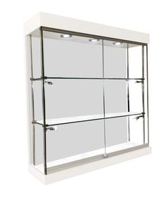 1000mm X 1000mm Frameless Gloss White Wall Display Cabinet LED  Fitted W10 10F