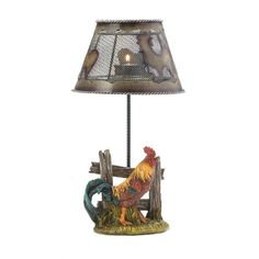 A little bit of candlelight will make this country rooster glow! This cool candle lamp features a metal shade with rooster cutouts on top with a single spot for