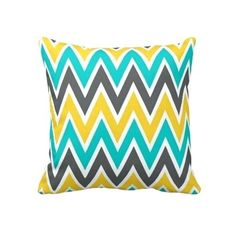 Lovest Decorative Home Design Turquoise Gray Yellow Gold Chevron Throw Pillow Cases Cushion Cover for Sofa or Bedroom Living Room Turquoise, Living Room Colors, Living Room Grey, Living Room Designs, Turquoise Bathroom, Chevron Throw Pillows, Throw Pillow Cases, Decorative Throw Pillows, Pillow Covers