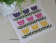 Potholder Patterns, Crochet Potholders, Knit Dishcloth, Knit Crochet, Knitting Charts, Knitting Socks, Knitting Patterns, Crochet Home Decor, Fair Isle Knitting