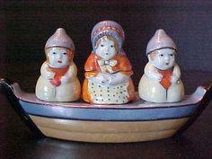 Condiment Boat Set Lusterware Mother 2 Salt Pepper Children Handpainted