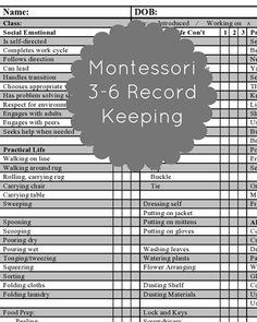 Free Montessori Record Keeping for Ages 3-6