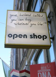 A sign outside an Amsterdam shop
