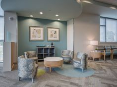 This seating nook highlights our interior design of the Ambulatory Surgery Center at WellStar Vinings Health Park. Our team chose a soothing color palette and a variety of seating options to help comfort the visitors and patients. Surgery Center, Soothing Colors, Holistic Wellness, Strategic Planning, Nook, Highlights, Dining Chairs, Palette, Interior Design