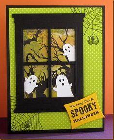 Halloween - Memory Box ghosts & Grand Madison Window die; Spider webs - Martha Stewart