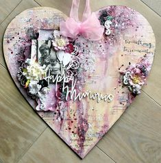 13 pasji by Ayeeda: Layout na drewnianym sercu - warsztaty Layout on wooden heart class Mixed Media Artwork, Mixed Media Collage, Mixed Media Canvas, Altered Canvas, Altered Art, Multimedia Arts, Shabby Chic Crafts, Heart Crafts, Wooden Hearts