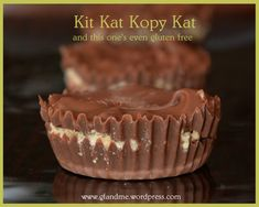 """These look more like a Peanut Butter Cup than a Kit Kat Bar but without a proper chocolate mold this was what we came up with! These gluten free Kit Kat """"Bars"""" taste like the real t. Gf Recipes, Gluten Free Recipes, Dog Food Recipes, Healthy Recipes, Kit Kat Bars, How To Make Biscuits, Gluten Free Thanksgiving, Gluten Free Sweets"""