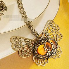 Amber hollow butterfly retro long necklace sweater chain , shop at Costwe.com