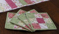 Quilted Mug Rugs set of 4 in beautiful pink by WarmandCozyQuilts, $15.00