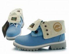 Cheap Timberland Women Roll Top Boots Blue Beige