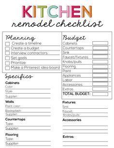 Printable Kitchen Remodel Checklist from www.thirtyhandmadedays.com