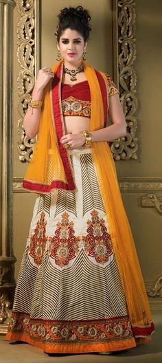 148525: #lehenga #silk #patchwork #stonework #lace #geometry #aztec #embroidery #IzabelleLeiti #Bollywood #getthislook #pastel #wedding #bridalwear #getthislook #designer