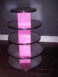 DIY cupcake tower- glowing marble-filled vases