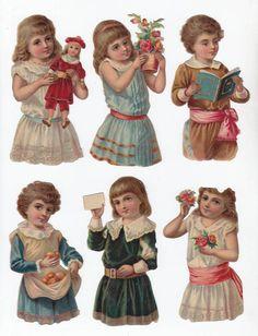 Victorian Scraps Children Girls Boys Paper Doll Oranges Book Die Cuts