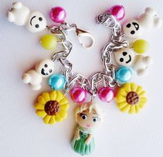 frozen fever jewelry  charm bracelet with elsa and by crystalnruby
