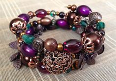Purple Teal Brown & Copper Custom Coil by PeacocksandLeopards, $24.00