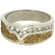 Custom Alaskan Gold Nugget and Diamond Wedding Band. Style#: GRW353WG - Gold Nugget Jewelry by Alaskan Gold Rush Fine Jewelry - Fairbanks, Alaska - 907-456-4991 - www.goldrushfinejewelry.com
