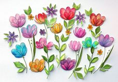 Flowers painted with watercolors. SSS Spring Flowers stamp set