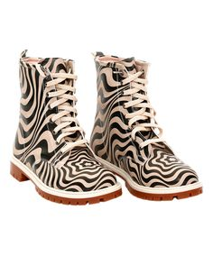 Black & Beige Psychadelic Waves Combat Boot by Goby #zulily #zulilyfinds
