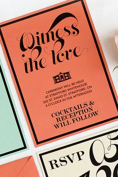 Modern Mint and Coral Wedding Invitations by OOXX via Oh So Beautiful Paper