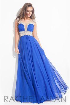 16277f784b Rachel Allan - Chiffon gown with beaded illusion waist
