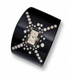 Art Deco Gold, Platinum, Diamond, Onyx and Enamel Bracelet-Watch, Cartier, Paris - Sothebys ♥≻★≺♥