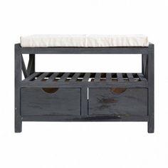 Modern Storage Bench Organizer Furniture Rack Wooden Seat Cabinet Cushion Grey #ModernStorageBench #Modern