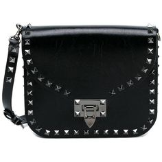 Valentino Valentino Garavani Rockstud Leather Shoulder Bag (4635 TND) ❤ liked on Polyvore featuring bags, handbags, shoulder bags, bolsas, chain strap shoulder bag, shoulder hand bags, studded handbags, leather shoulder handbags and studded leather handbags