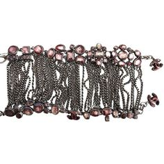 """Pre-owned Chanel 10c """" Paris-venice Antique Rose Glass Arm Bracelet ($750) ❤ liked on Polyvore featuring jewelry, bracelets, accessories, none, chanel jewelry, antique bangle, chanel, glass jewelry and glass bangles"""