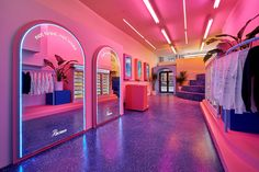 Escape the Daily Grind at Recess IRL [New York] Wellness beverage brand Recess recently opened their first experiential pop-up space in New York called Recess IRL. The space welcomes consumers to Aesthetic Stores, Neon Aesthetic, Boutique Interior, Bar Lounge, Decoration Chic, Neon Room, Retail Space, At Home Store, Art Store