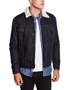 Levi's Men's Sherpa Trucker Jacket Dark Blue All Sizes 0027 Nudie Jeans, Levis, Mens Sherpa, Gentleman Style, Dark Denim, Winter Fashion, Men's Fashion, Casual, Clothes