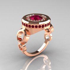 Modern 18K Rose Gold 1.0 Carat Garnet Diamond Designer Engagement Ring R163-18KRGDGG on Etsy, $1,699.00