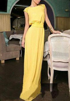 Available Sizes :S;M;L;XL Bust(cm) :S:92cm; M:96cm; L:100cm; XL:104cm Waist(cm) :S:88cm; M:92cm; L:96cm; XL:100cm Length(cm) :S:151cm; M:152cm; L:153cm; XL:154cm Type :Slim Material :Linen Cotton Color :Yellow Decoration :Belt, Lace Pattern :Patchwork Collar :Collarless Length Style :Floor Length Sleeve Length :Short Sleeve