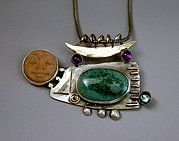 Handmade sterling art jewelry set with pottery cabs, gold and semi-precious stones. A full line of one of kind and unique pieces guaranteed to bring you complim Amber Jewelry, Stone Jewelry, Jewelry Art, Fashion Art, Gemstone Rings, Pottery, Brooch, Turquoise, Sterling Silver