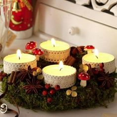 Easiest DIY Centerpiece Christmas Table Decorating Ideas Most Inspiring) Christmas Candle Centerpieces, Advent Wreath Candles, Christmas Candles, Christmas Diy, Christmas Decorations, Advent Wreaths, Nordic Christmas, Reindeer Christmas, Modern Christmas
