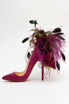 Louboutin Ribbon and Feather stilettos. A frolic and fun pair. Stilettos, High Heels, Stiletto Pumps, Pumps Heels, Zapatos Shoes, Women's Shoes, Shoe Boots, Pink Shoes, Shoes 2017
