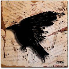 Trademark Fine Art The Raven 3 inch Canvas Art by Roderick Stevens, Size: 24 x 24, Multicolor