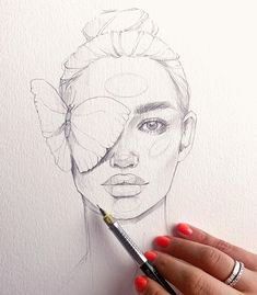 Pencil Drawing Line Art of a woman with a butterfly on her eye Dark Art Drawings, Pencil Art Drawings, Hipster Drawings, Couple Drawings, Realistic Drawings, Easy Drawings, Girl Drawing Sketches, Face Sketch, Girl Sketch