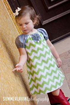 Peasant dress  Green Chevron Perfection Available by valeriya, $27.00
