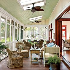 Modern Dogtrot Home: Screened Porch - Lowcountry-Style House - Southern Living. The long, narrow screened porch runs the width of the home and is accessible from the formal living room, the central hallway, and the master bedroom. Outdoor Rooms, Outdoor Living, Outdoor Furniture Sets, Outdoor Patios, Small Furniture, Outdoor Kitchens, Diy Balkon, Br House, Home Porch