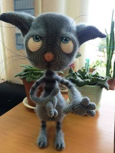 Project made by Ирина Кожухова using Dobby the sad cat crochet pattern from littleowlshut