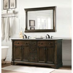 Legion Furniture Carrara White Marble Top Double Sink Coffee Bean Bathroom  Vanity Set Set, No Faucet), Brown, Size Double Vanities. Abel 60 Inch ...