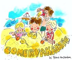 Zomervakantie by Blond-Amsterdam Blond Amsterdam, Amsterdam Holidays, I Love School, Watercolor Fashion, Christmas Art, Christmas Mantels, Christmas Villages, Silver Christmas, Victorian Christmas