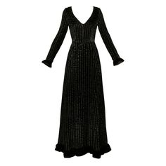 Givenchy 1970s Vintage Black Textured Black Silk + Velvet Gown | From a collection of rare vintage evening dresses at https://www.1stdibs.com/fashion/clothing/evening-dresses/
