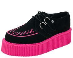 Black & Pink Suede Round Toe Mondo Creepers - TUK Shoe | T.U.K. Shoes
